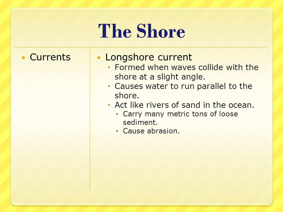 The Shore Currents Longshore current Formed when waves collide with the shore at a slight angle. Causes water to run parallel to the shore. Act like r