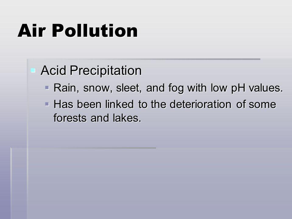 Air Pollution Acid Precipitation Acid Precipitation Rain, snow, sleet, and fog with low pH values. Rain, snow, sleet, and fog with low pH values. Has