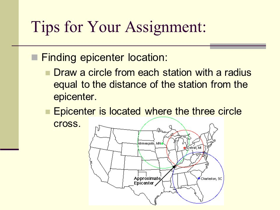 Tips for Your Assignment: Finding epicenter location: Draw a circle from each station with a radius equal to the distance of the station from the epic