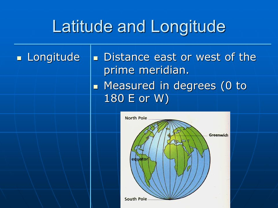 Latitude and Longitude Longitude Longitude Distance east or west of the prime meridian. Distance east or west of the prime meridian. Measured in degre
