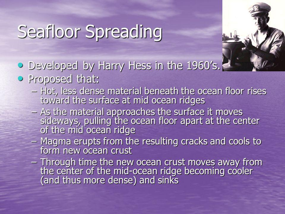 Seafloor Spreading Developed by Harry Hess in the 1960s. Developed by Harry Hess in the 1960s. Proposed that: Proposed that: –Hot, less dense material