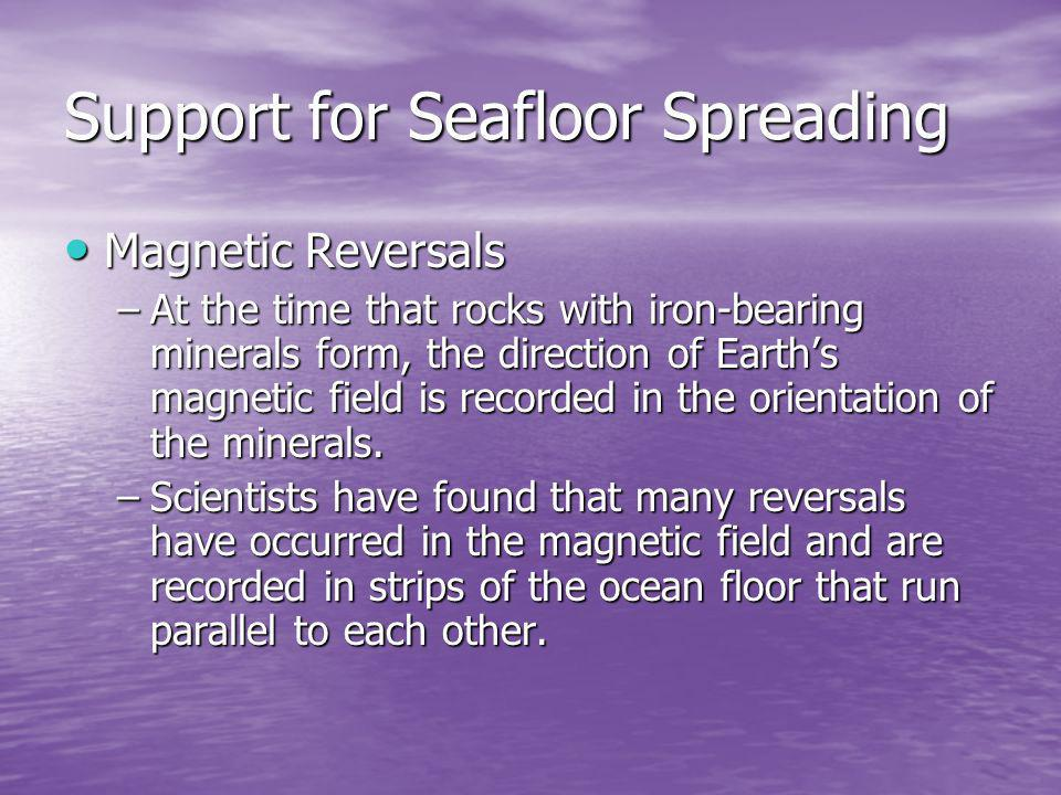 Support for Seafloor Spreading Magnetic Reversals Magnetic Reversals –At the time that rocks with iron-bearing minerals form, the direction of Earths magnetic field is recorded in the orientation of the minerals.