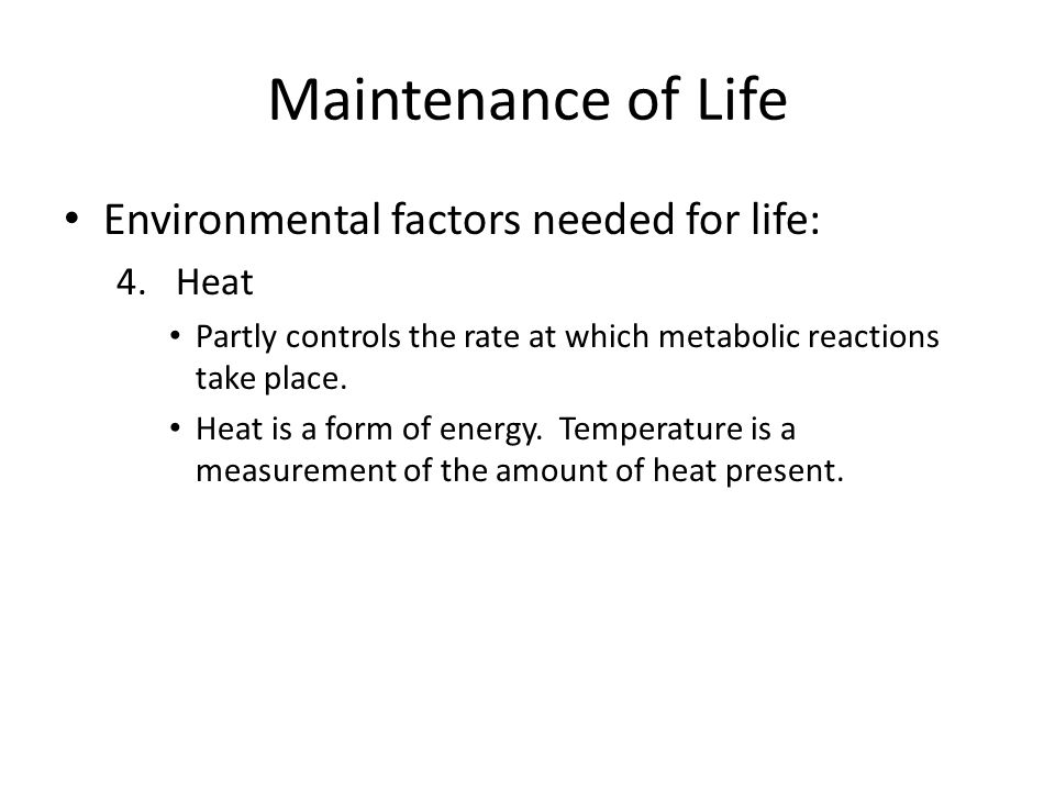 Maintenance of Life Environmental factors needed for life: 4.Heat Partly controls the rate at which metabolic reactions take place. Heat is a form of