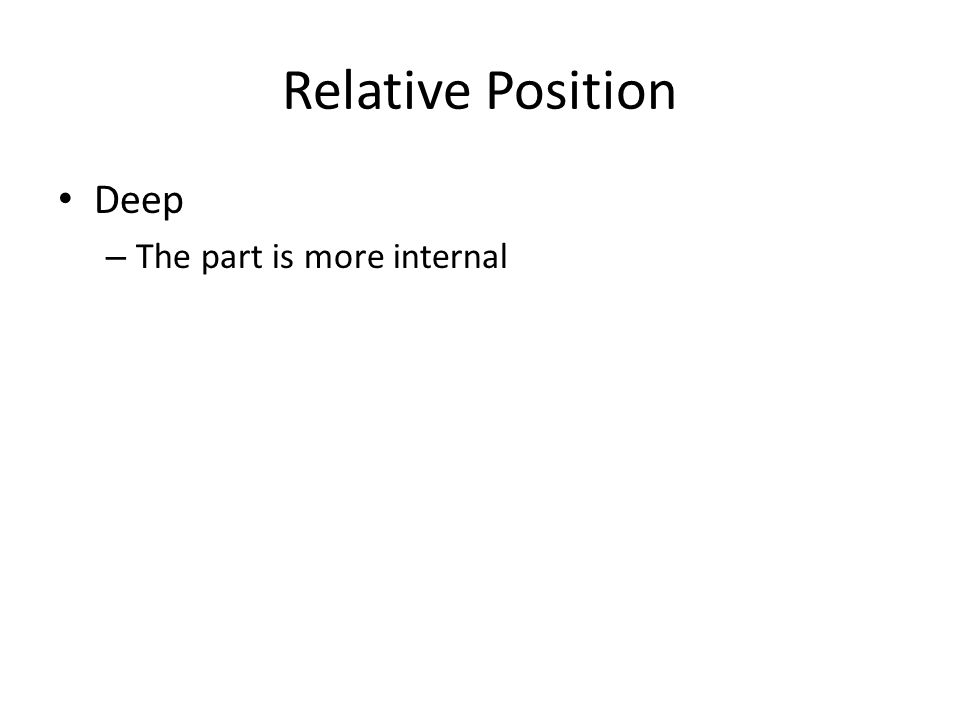 Relative Position Deep – The part is more internal