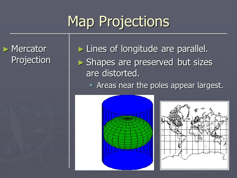 Map Projections Mercator Projection Mercator Projection Lines of longitude are parallel. Shapes are preserved but sizes are distorted. Areas near the