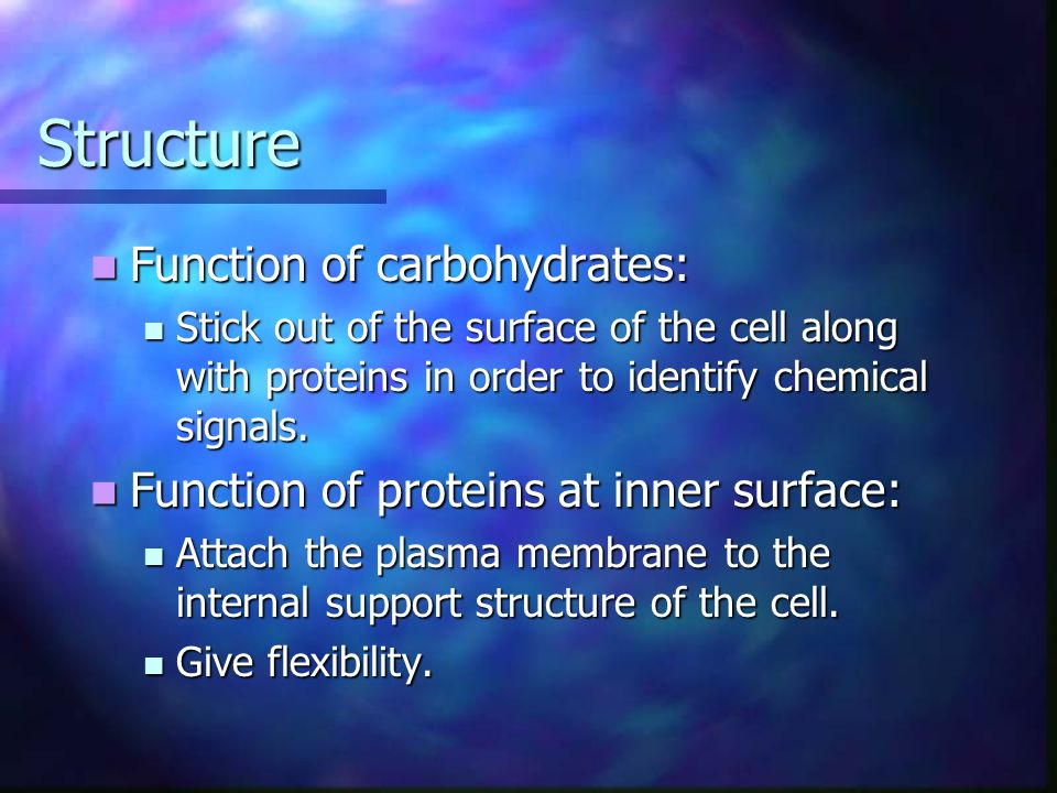 Structure Function of carbohydrates: Function of carbohydrates: Stick out of the surface of the cell along with proteins in order to identify chemical signals.