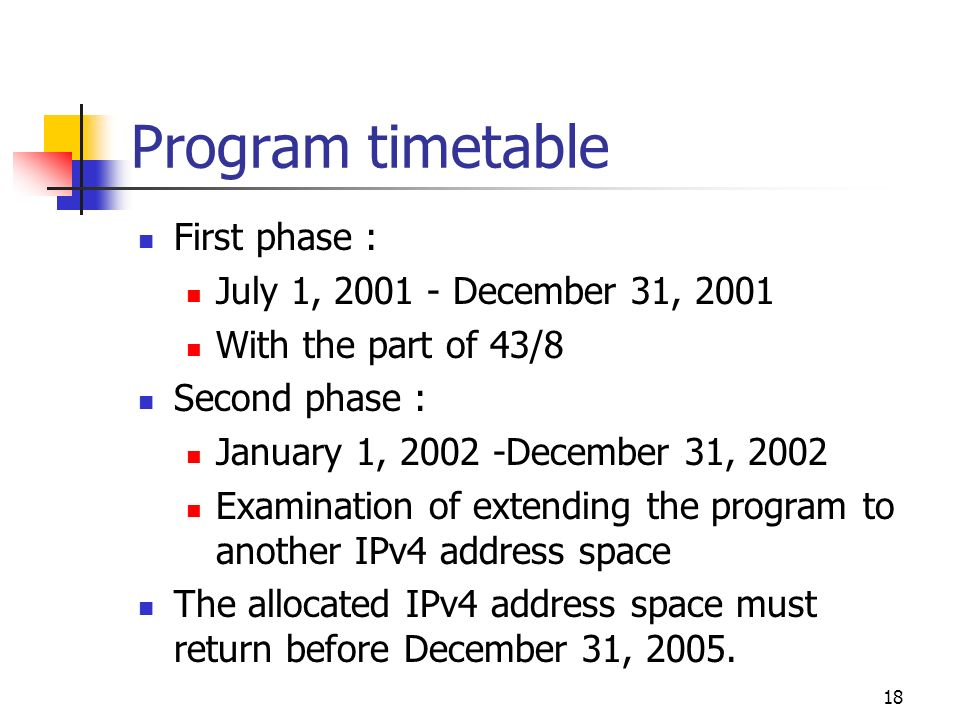 18 First phase : July 1, 2001 - December 31, 2001 With the part of 43/8 Second phase : January 1, 2002 -December 31, 2002 Examination of extending the program to another IPv4 address space The allocated IPv4 address space must return before December 31, 2005.