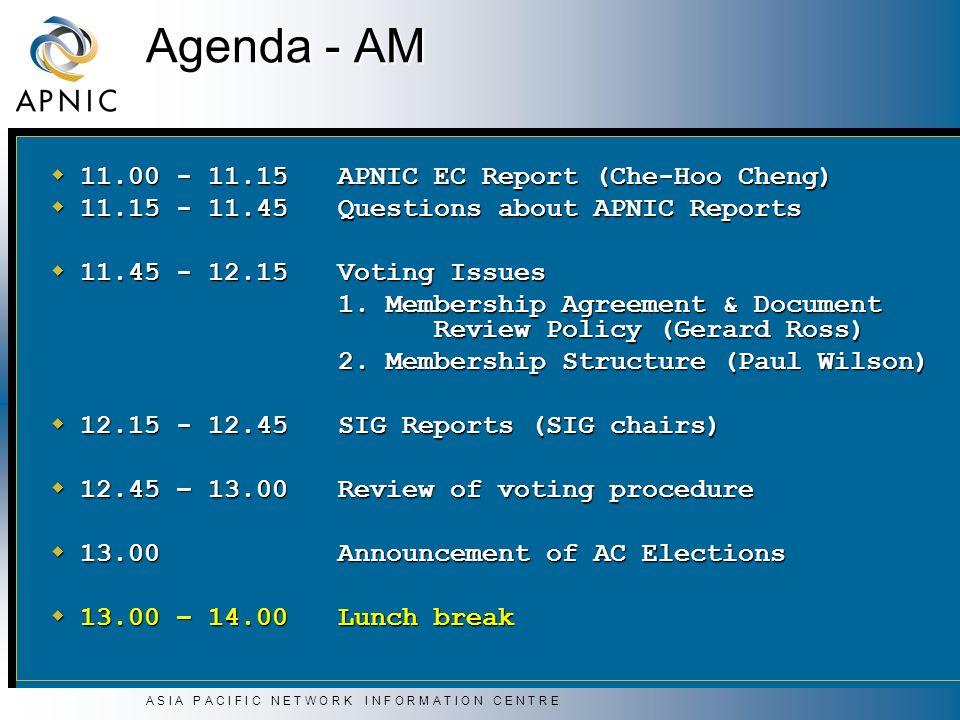 A S I A P A C I F I C N E T W O R K I N F O R M A T I O N C E N T R E Agenda - AM 11.00 - 11.15APNIC EC Report (Che-Hoo Cheng) 11.00 - 11.15APNIC EC Report (Che-Hoo Cheng) 11.15 - 11.45Questions about APNIC Reports 11.15 - 11.45Questions about APNIC Reports 11.45 - 12.15Voting Issues 11.45 - 12.15Voting Issues 1.