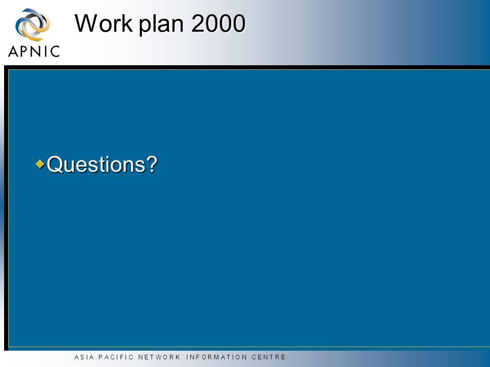 A S I A P A C I F I C N E T W O R K I N F O R M A T I O N C E N T R E Work plan 2000 Questions? Questions?