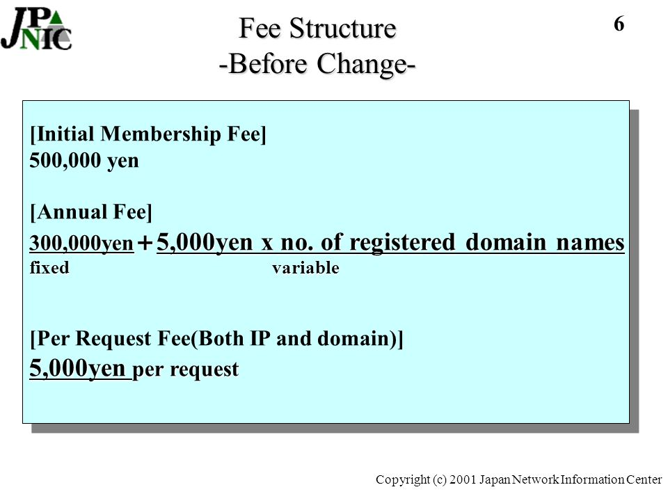 7 Copyright (c) 2001 Japan Network Information Center Fee Structure -Before Change- Initial Membership fee –Only pay once at the time of becoming a member Annual fee –Pay once every year –Variable is based on registered domains –Also applies to those only doing IP Per assignment request fee –5,000 yen per IP address assignment request –5,000 yen per domain name registration request *not per address