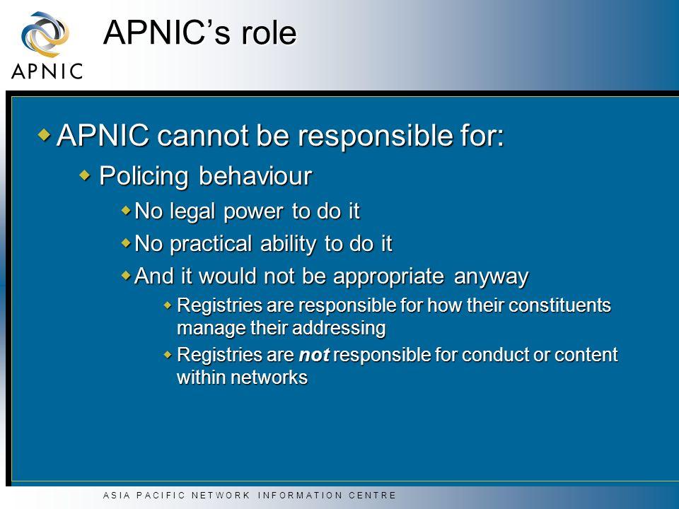 A S I A P A C I F I C N E T W O R K I N F O R M A T I O N C E N T R E APNICs role APNIC cannot be responsible for: APNIC cannot be responsible for: Po