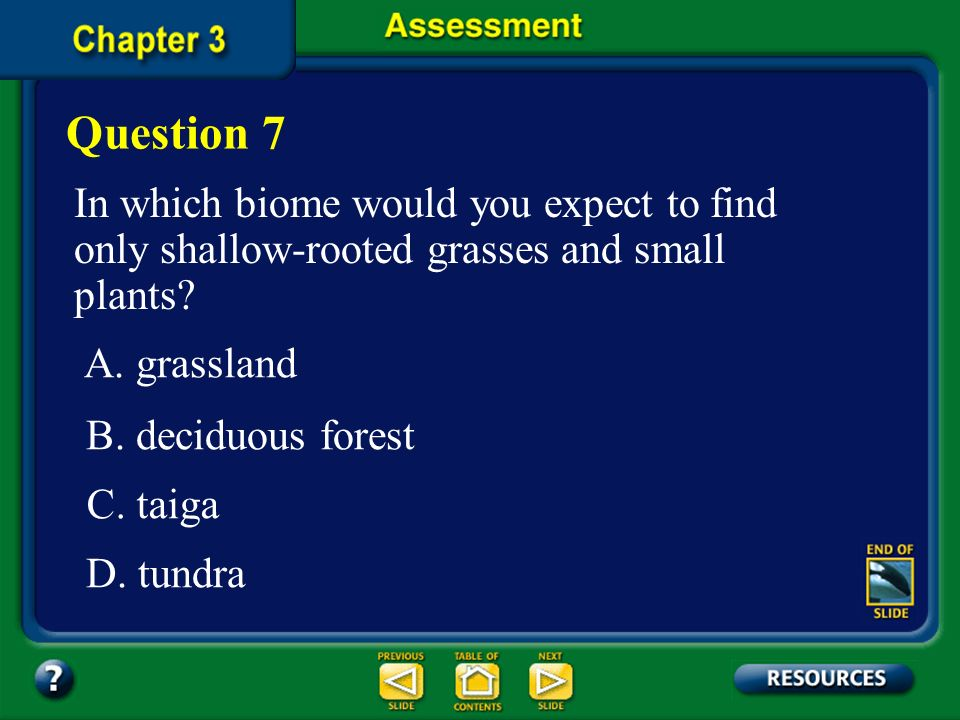 Chapter Assessment The answer is A. In tropical rain forests, sunlight, moisture and nutrients are available in abundance. These biomes are the most s
