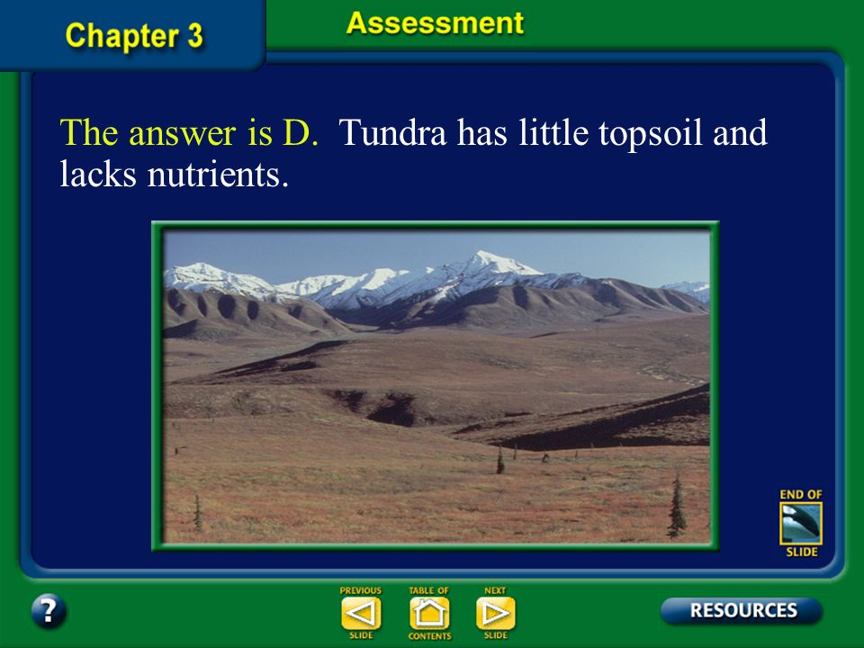 Chapter Assessment Question 7 In which biome would you expect to find only shallow-rooted grasses and small plants? D. tundra C. taiga B. deciduous fo