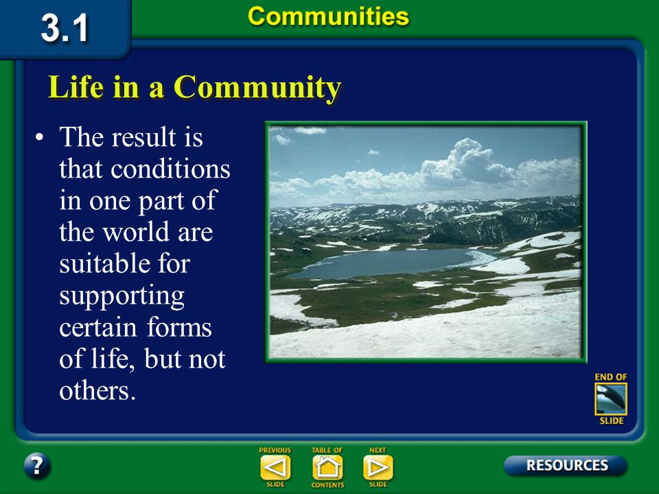 Section 3.1 Summary – pages 65-69 Various combinations of abiotic and biotic factors interact in different places around the world. Life in a Communit
