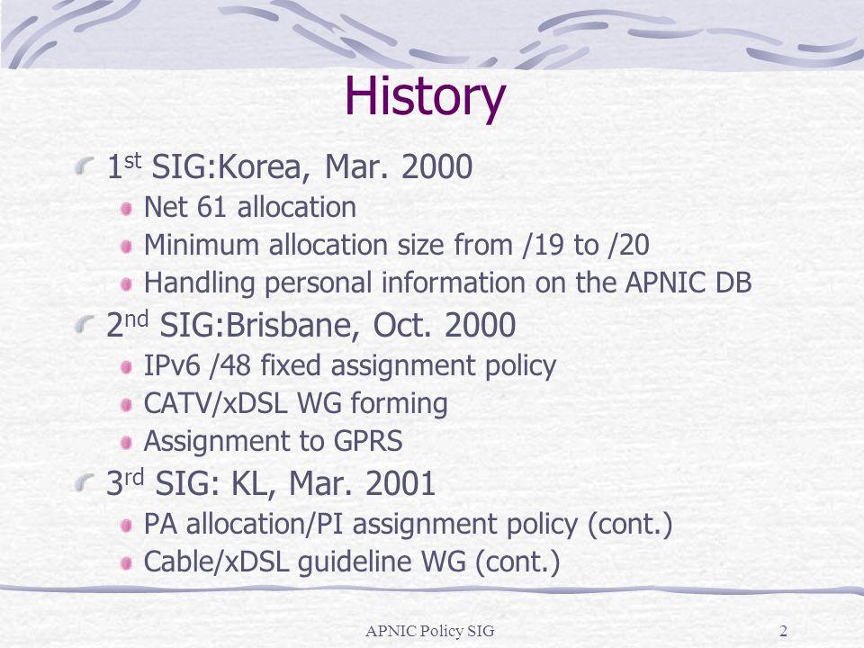 APNIC Policy SIG2 History 1 st SIG:Korea, Mar.