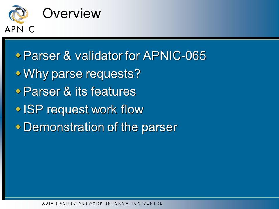 A S I A P A C I F I C N E T W O R K I N F O R M A T I O N C E N T R E Overview Parser & validator for APNIC-065 Parser & validator for APNIC-065 Why parse requests.