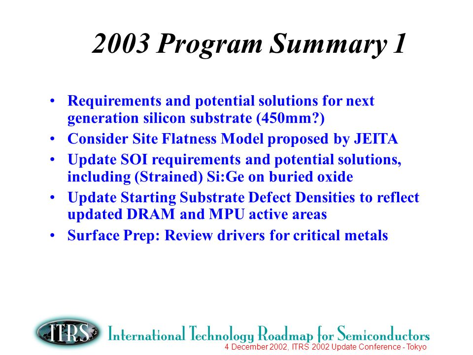 4 December 2002, ITRS 2002 Update Conference - Tokyo 2003 Program Summary 1 Requirements and potential solutions for next generation silicon substrate