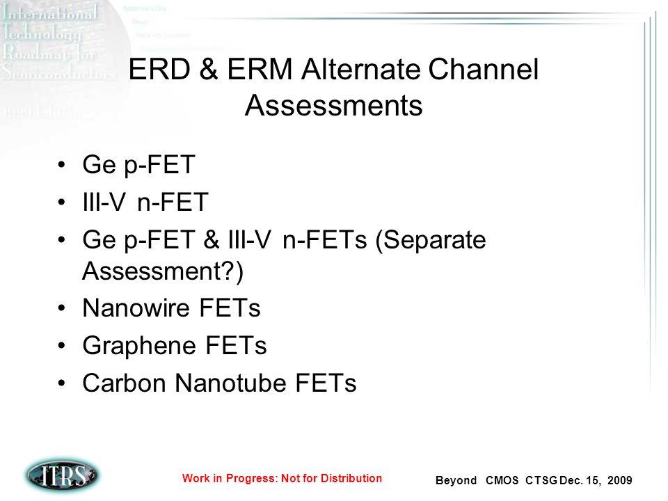 Beyond CMOS CTSG Dec. 15, 2009 Work in Progress: Not for Distribution ERD & ERM Alternate Channel Assessments Ge p-FET III-V n-FET Ge p-FET & III-V n-