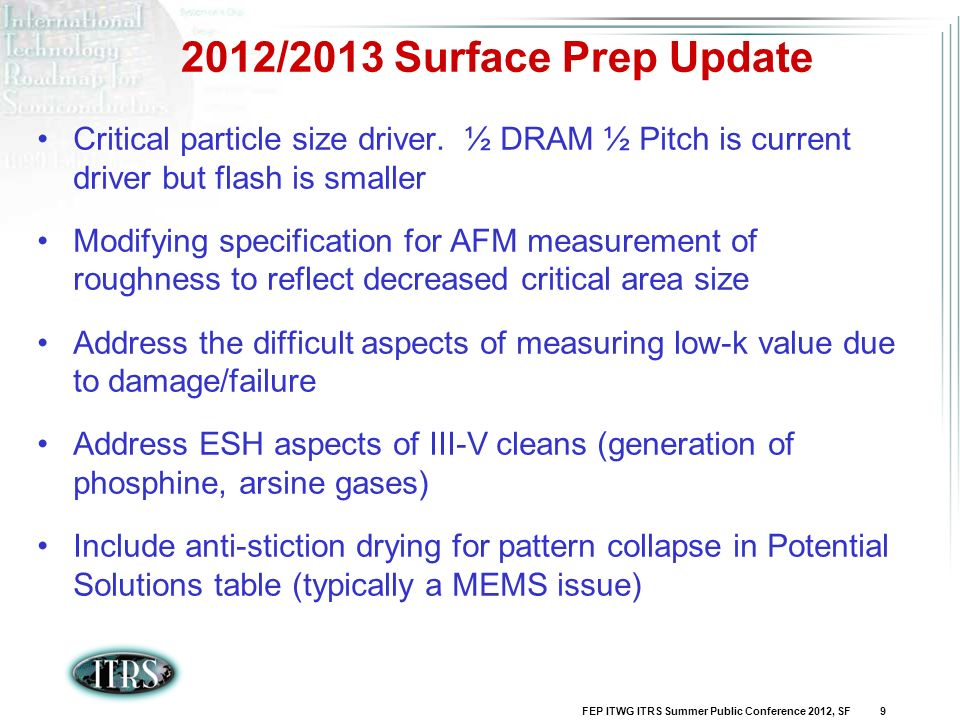 FEP ITWG ITRS Summer Public Conference 2012, SF 9 2012/2013 Surface Prep Update Critical particle size driver. ½ DRAM ½ Pitch is current driver but fl