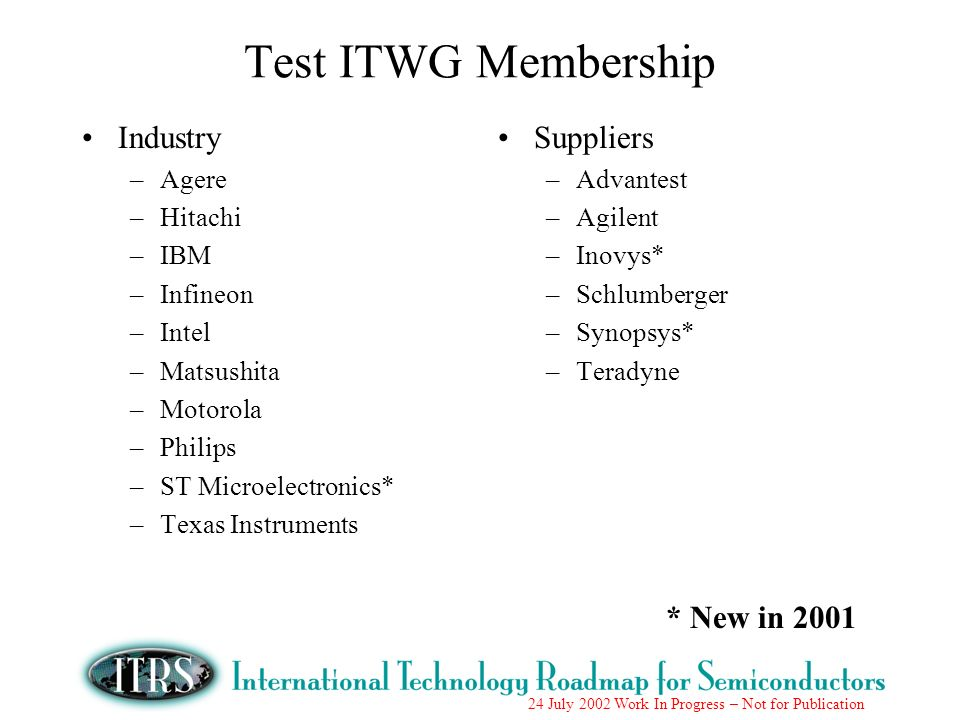 24 July 2002 Work In Progress – Not for Publication Test ITWG Membership Industry –Agere –Hitachi –IBM –Infineon –Intel –Matsushita –Motorola –Philips