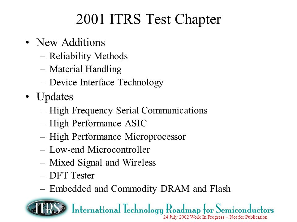 24 July 2002 Work In Progress – Not for Publication 2001 ITRS Test Chapter New Additions –Reliability Methods –Material Handling –Device Interface Tec
