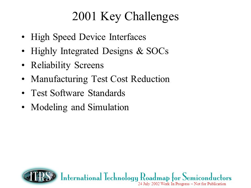 24 July 2002 Work In Progress – Not for Publication 2001 Key Challenges High Speed Device Interfaces Highly Integrated Designs & SOCs Reliability Scre