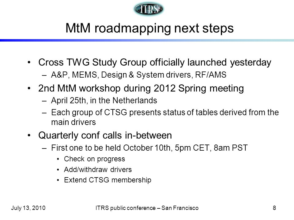 MtM roadmapping next steps Cross TWG Study Group officially launched yesterday –A&P, MEMS, Design & System drivers, RF/AMS 2nd MtM workshop during 201