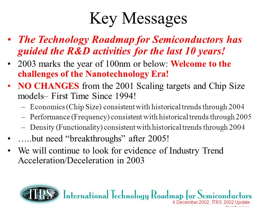 4 December 2002, ITRS 2002 Update Conference Key Messages The Technology Roadmap for Semiconductors has guided the R&D activities for the last 10 year