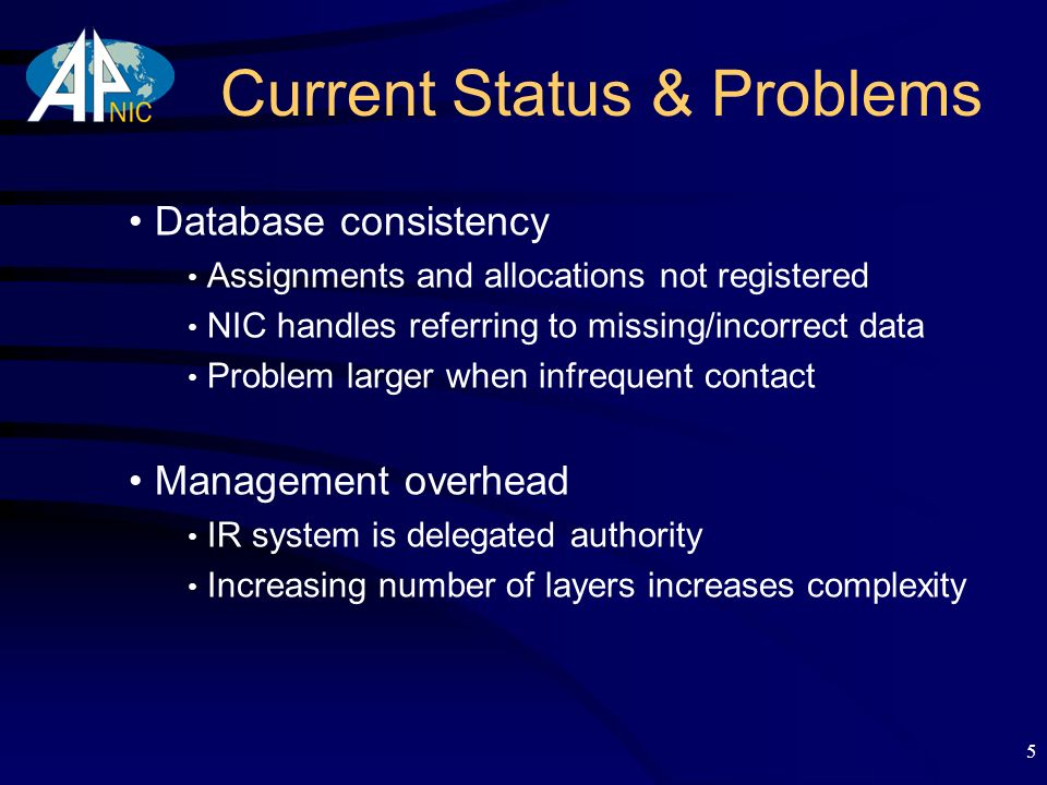 5 Current Status & Problems Database consistency Assignments and allocations not registered NIC handles referring to missing/incorrect data Problem larger when infrequent contact Management overhead IR system is delegated authority Increasing number of layers increases complexity