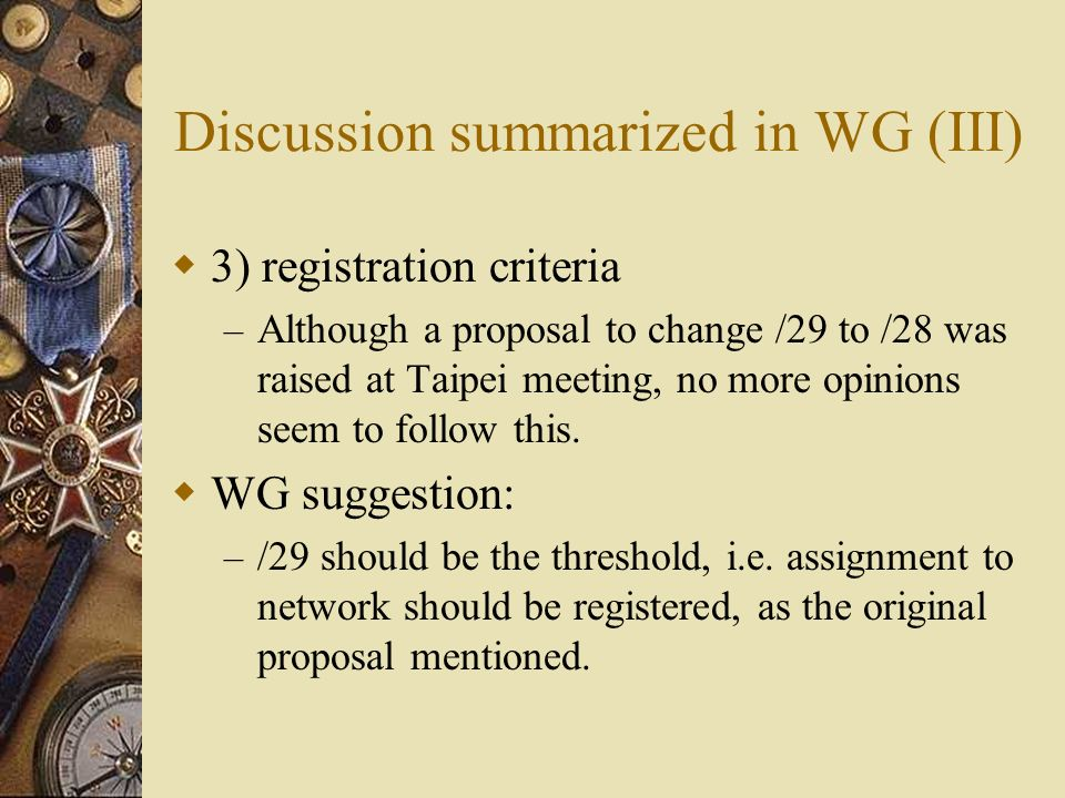 Two proposals come after the Taipei meeting Both are from Japanese community (i.e.