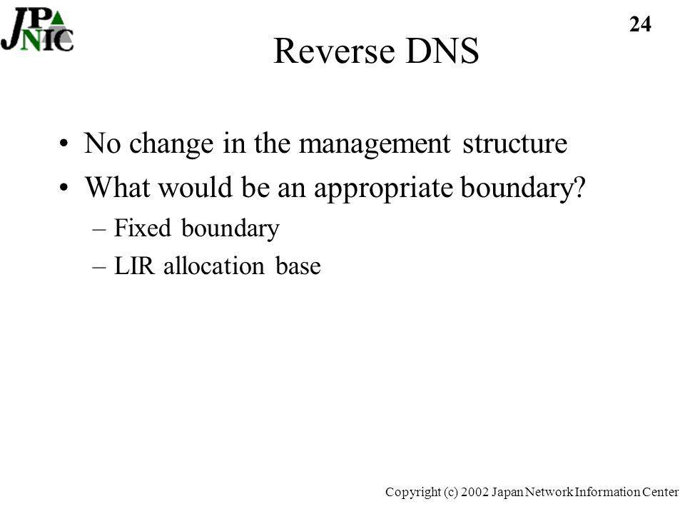 24 Copyright (c) 2002 Japan Network Information Center Reverse DNS No change in the management structure What would be an appropriate boundary.