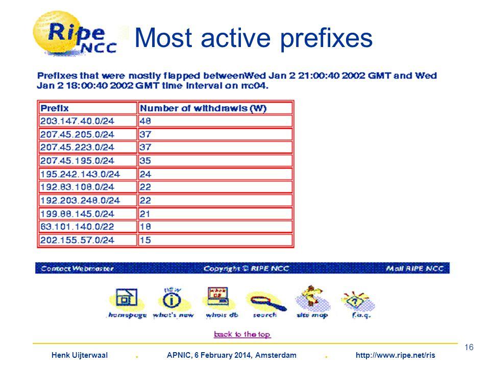 Henk Uijterwaal. APNIC, 6 February 2014, Amsterdam. http://www.ripe.net/ris 16 Most active prefixes