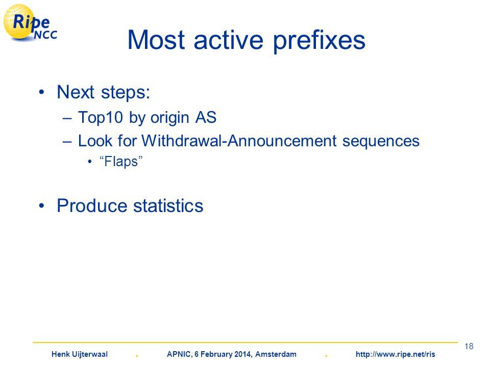 Henk Uijterwaal. APNIC, 6 February 2014, Amsterdam. http://www.ripe.net/ris 18 Most active prefixes Next steps: –Top10 by origin AS –Look for Withdraw