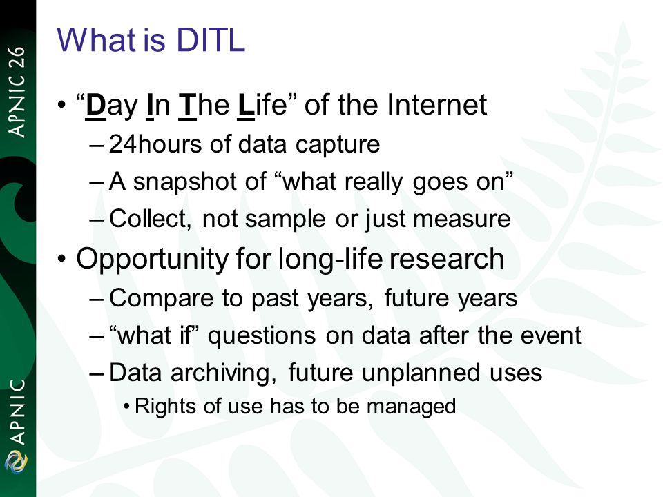 What is DITL Day In The Life of the Internet –24hours of data capture –A snapshot of what really goes on –Collect, not sample or just measure Opportunity for long-life research –Compare to past years, future years –what if questions on data after the event –Data archiving, future unplanned uses Rights of use has to be managed