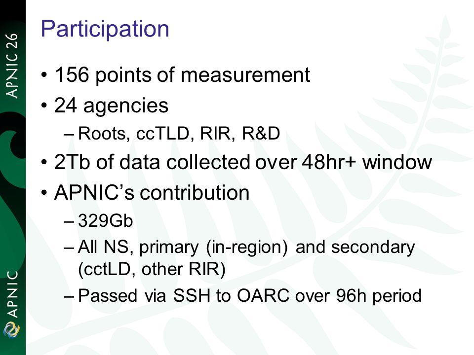 Participation 156 points of measurement 24 agencies –Roots, ccTLD, RIR, R&D 2Tb of data collected over 48hr+ window APNICs contribution –329Gb –All NS