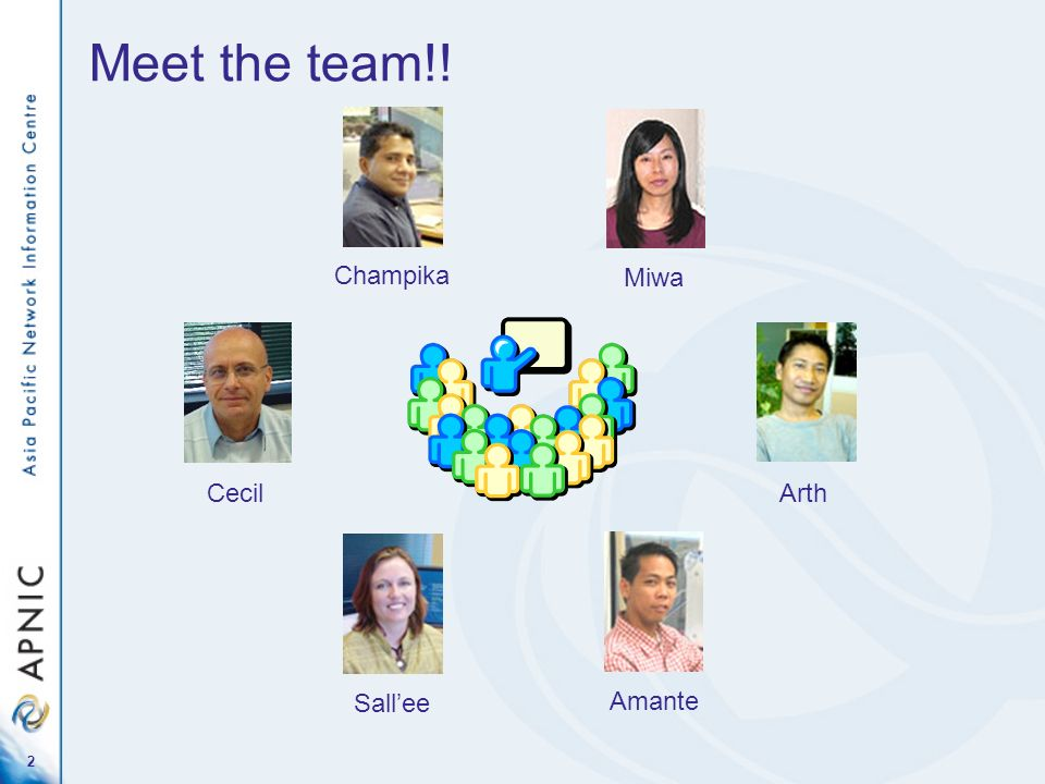 2 Meet the team!! Cecil Champika Miwa Arth Amante Sallee