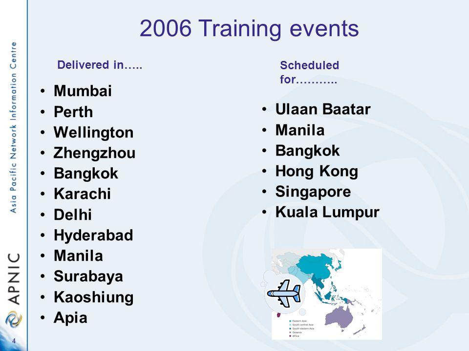 4 2006 Training events Mumbai Perth Wellington Zhengzhou Bangkok Karachi Delhi Hyderabad Manila Surabaya Kaoshiung Apia Ulaan Baatar Manila Bangkok Ho