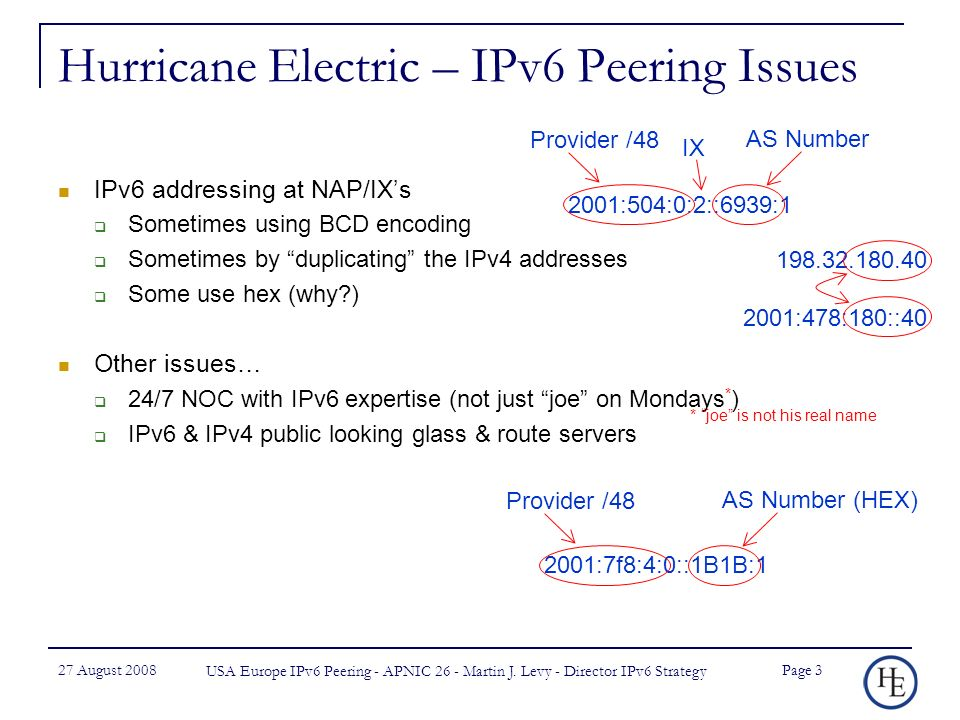 27 August 2008 USA Europe IPv6 Peering - APNIC 26 - Martin J.