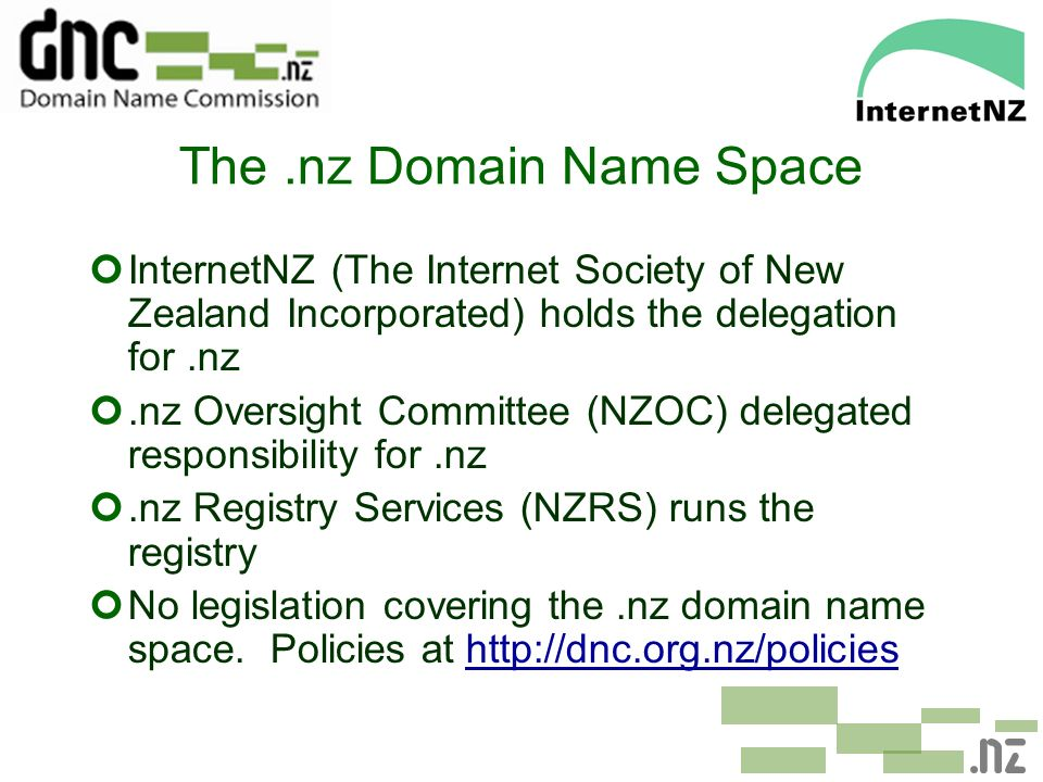 The.nz Domain Name Space ¢InternetNZ (The Internet Society of New Zealand Incorporated) holds the delegation for.nz ¢.nz Oversight Committee (NZOC) de