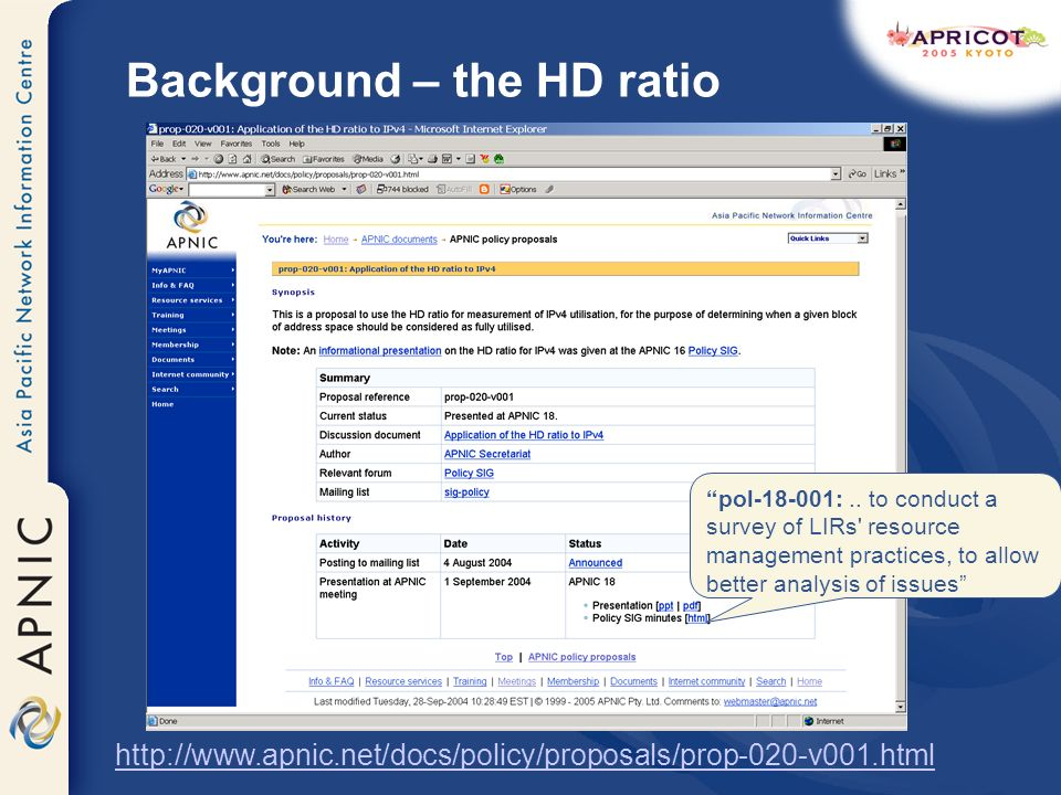 Background – the HD ratio http://www.apnic.net/docs/policy/proposals/prop-020-v001.html pol-18-001:..