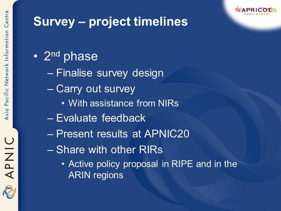 Survey – project timelines 2 nd phase –Finalise survey design –Carry out survey With assistance from NIRs –Evaluate feedback –Present results at APNIC