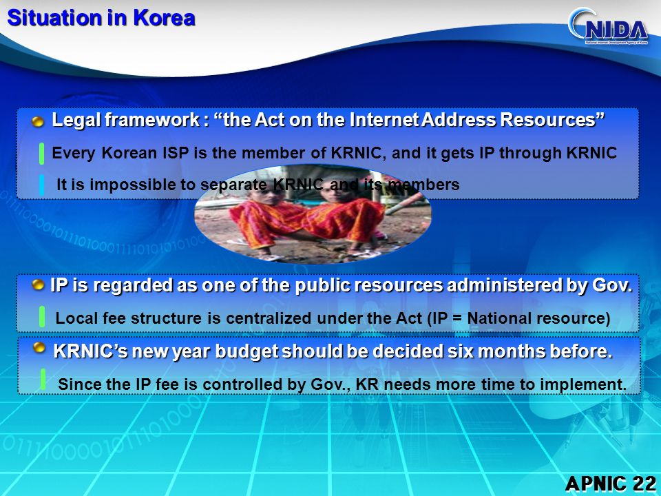 APNIC 22 Impact on Korea Before Direct Allocation : USD 92,160 (29,856,256 I ) Before Direct Allocation : USD 92,160 (29,856,256 I ) After Direct Allocation : USD 238,320 After Direct Allocation : USD 238,320 Before Direct Allocation : USD 92,160 (29,856,256 I ) Before Direct Allocation : USD 92,160 (29,856,256 I ) After Direct Allocation : USD 238,320 After Direct Allocation : USD 238,320 ABCDEFGHI -242127433- 1803607201,4402,8805,76011,52023,04046,080 -BCDEFGHI KRNIC Member NIR Member Total 64 - USD 238,320 KRNIC have to pay 3 times more than before USD 330,480 = 92,160(H.A.):Lockup + 238,320(D.A.) USD 120,000 = 40,000 (M.F):Lockup + 80,000 (P.A.F.)