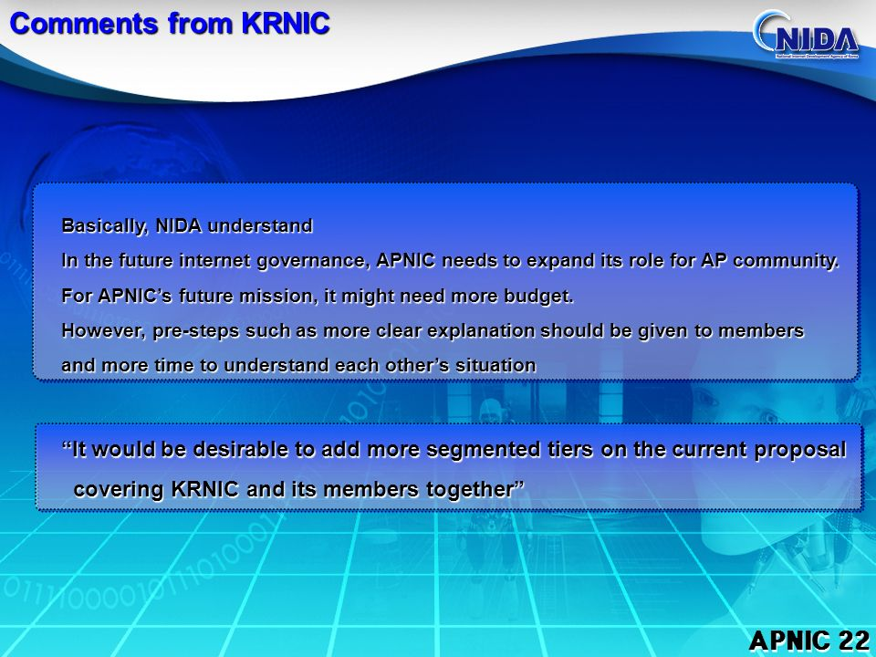 APNIC 22 Situation in Korea Legal framework : the Act on the Internet Address Resources Every Korean ISP is the member of KRNIC, and it gets IP through KRNIC It is impossible to separate KRNIC and its members IP is regarded as one of the public resources administered by Gov.