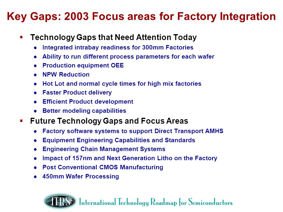 Key Gaps: 2003 Focus areas for Factory Integration Technology Gaps that Need Attention Today Integrated intrabay readiness for 300mm Factories Ability