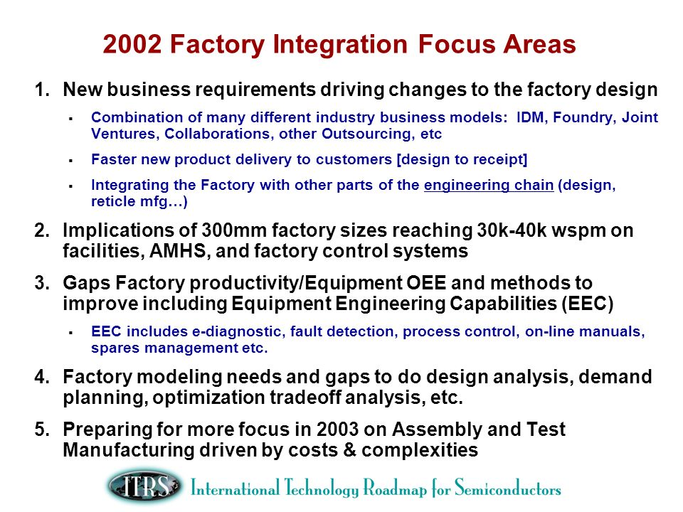 2002 Factory Integration Focus Areas 1.New business requirements driving changes to the factory design Combination of many different industry business