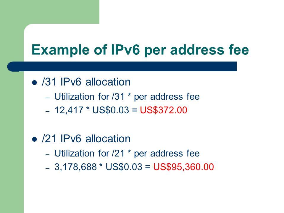 Example of IPv6 per address fee /31 IPv6 allocation – Utilization for /31 * per address fee – 12,417 * US$0.03 = US$372.00 /21 IPv6 allocation – Utilization for /21 * per address fee – 3,178,688 * US$0.03 = US$95,360.00