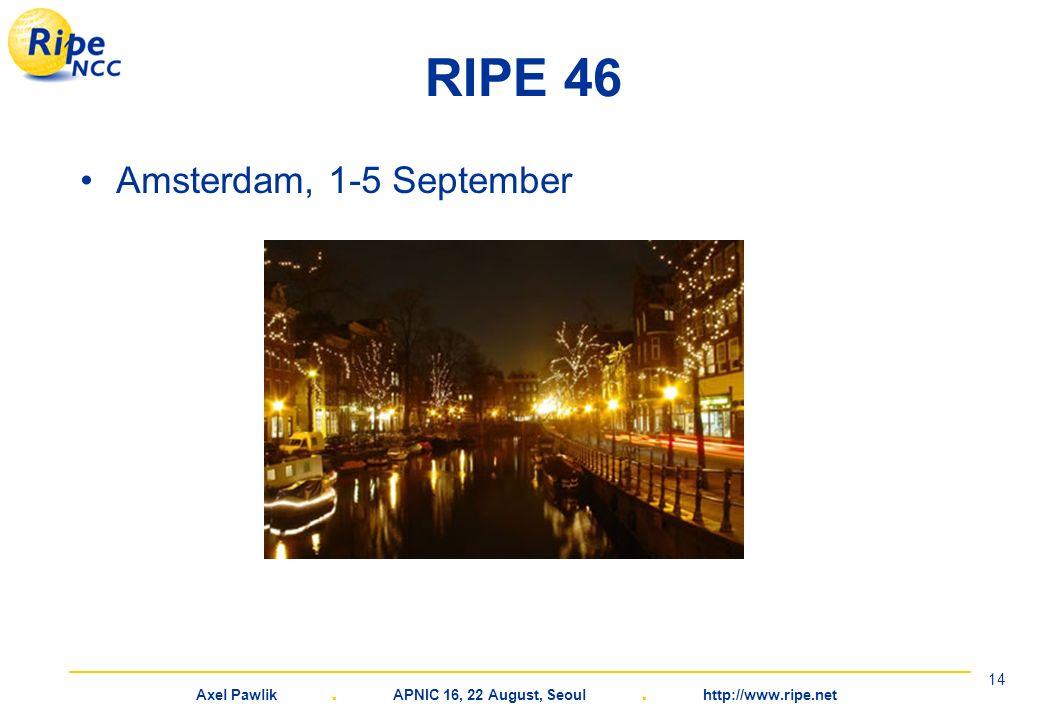 Axel Pawlik. APNIC 16, 22 August, Seoul. http://www.ripe.net 14 RIPE 46 Amsterdam, 1-5 September