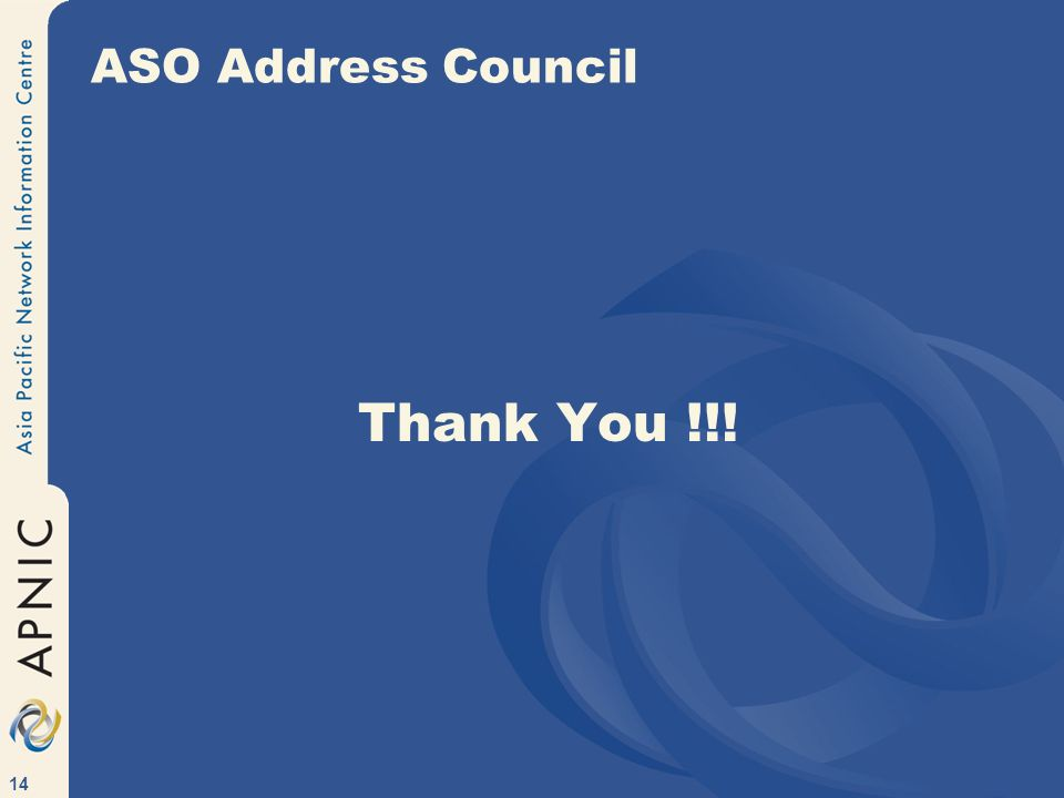 14 ASO Address Council Thank You !!!