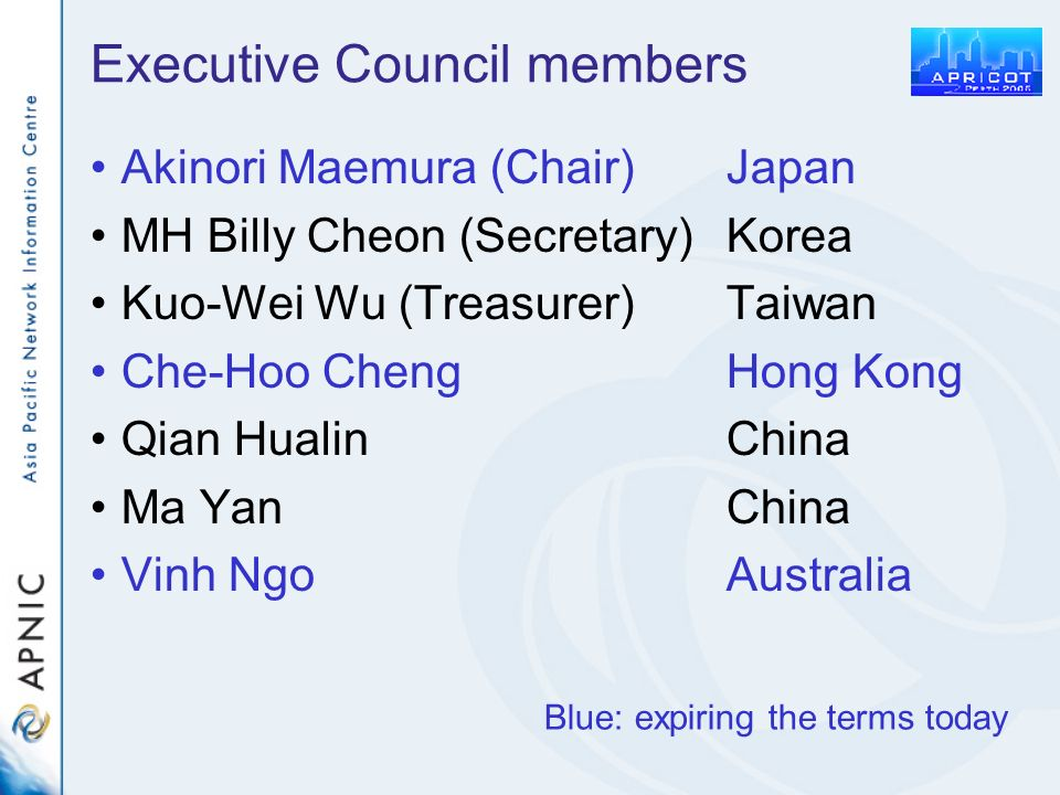 Executive Council members Akinori Maemura (Chair)Japan MH Billy Cheon (Secretary)Korea Kuo-Wei Wu (Treasurer)Taiwan Che-Hoo ChengHong Kong Qian HualinChina Ma YanChina Vinh NgoAustralia Blue: expiring the terms today