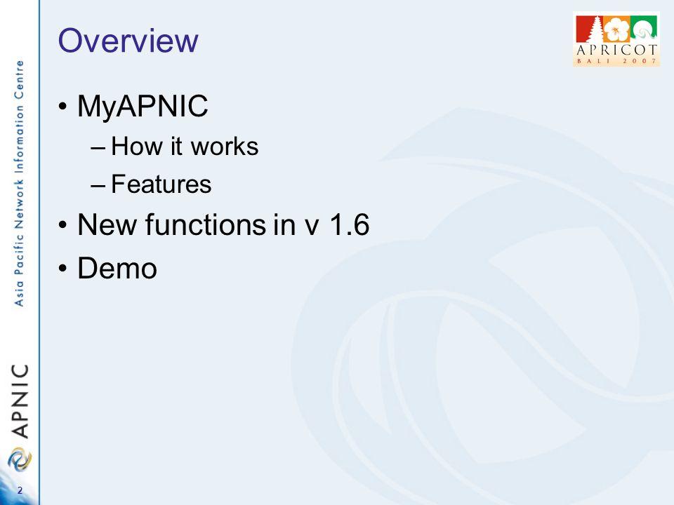1 MyAPNIC Project update Database SIG APNIC 23, Bali 28 February 2007